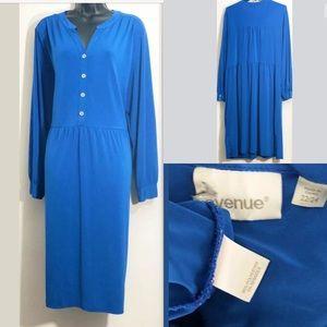 Avenue Size 22/24 Blue Button Front Sheath Dress